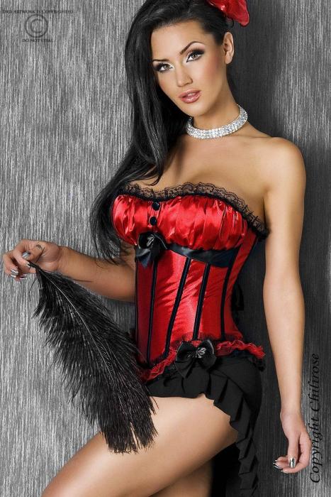 Burlesque Unterbrust Corsage mit angesetzten Satin-Cups, schwarzer Spitze und Satinschleifen