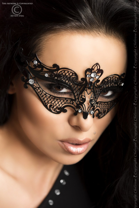 schwarze Metall-Maske Mysterious mit glitzernden Kristallen