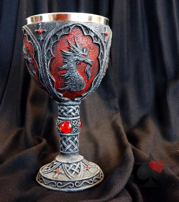 Drachenkelch Gothic Fantasy LARP schwarz/rot mit Edelstahleinsatz
