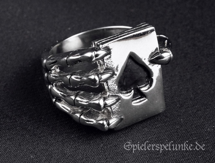 Edelstahlring Ace of Spades Skeleton Hand