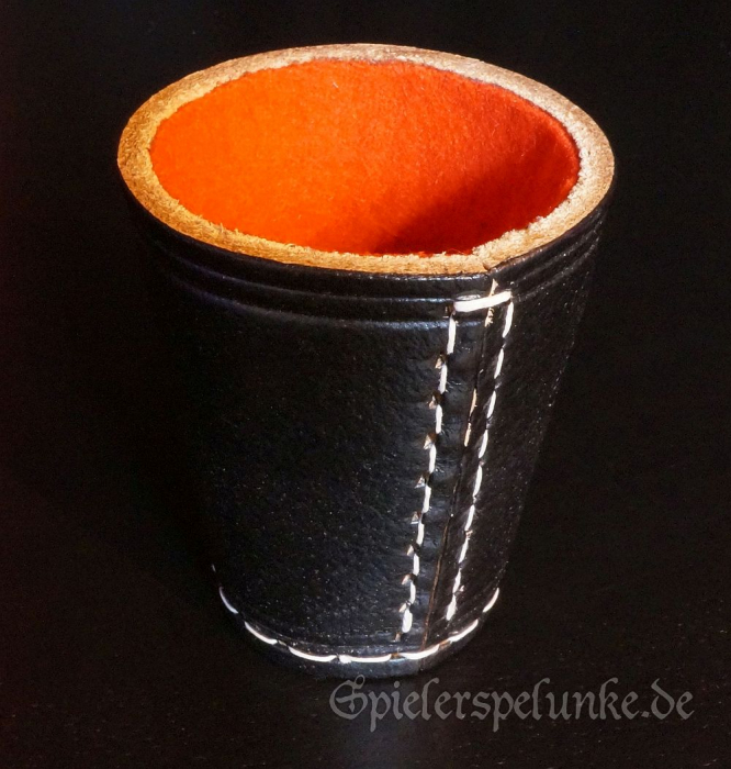 Würfelbecher echtes Leder genäht schwarz mit rotem Filzfutter 9cm mit Würfel, Baumwollsäckchen und Spielanleitung