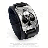 "Lederarmband mit Zinnapplikation ""Ace Of Dead Spades"""